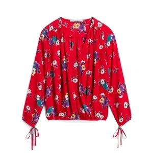 Collective Concepts Red Blouse with Tie Sleeves